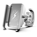 Motorcycle Aluminum Alloy Mobile Phone Bracket with Hook, Suitable for 4-6.5 inch Phones (White)