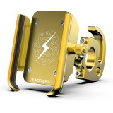 Motorcycle Aluminum Alloy Mobile Phone Bracket with Hook, Suitable for 4-6.5 inch Phones (Yellow)