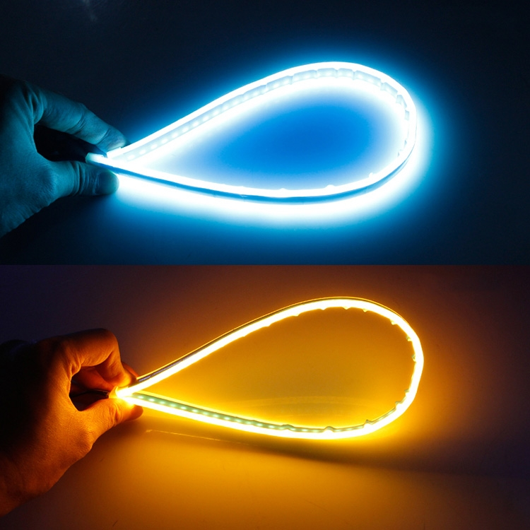 2 PCS 30cm DC12V 4.2W Ultra-thin Car Auto Double Colors Turn Lights / Running Lights, with LED SMD-2835 Lamp Beads (Turn Lights: Yellow Light; Running Lights: Ice Blue Light)