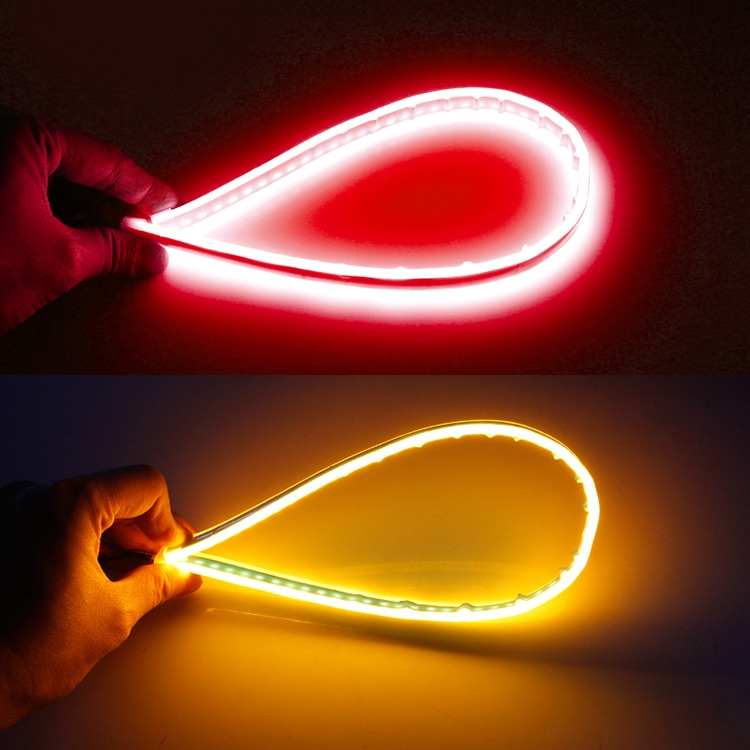 2 PCS 30cm DC12V 4.2W Ultra-thin Car Auto Double Colors Turn Lights / Running Lights, with LED SMD-2835 Lamp Beads (Turn Lights: Yellow Light; Running Lights: RedLight)