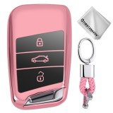 TPU One-piece Electroplating Full Coverage Car Key Case with Key Ring for Volkswagen New Magotan / New Passat (Pink)