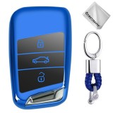 TPU One-piece Electroplating Full Coverage Car Key Case with Key Ring for Volkswagen New Magotan / New Passat (Blue)