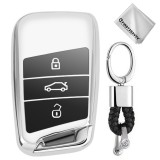 TPU One-piece Electroplating Full Coverage Car Key Case with Key Ring for Volkswagen New Magotan / New Passat (Silver)