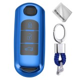 TPU One-piece Electroplating Full Coverage Car Key Case with Key Ring for Mazda 3 AXELA / CX-8 / CX-5 / CX-4 / 6 ATENZA (Blue)