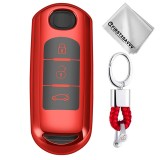 TPU One-piece Electroplating Full Coverage Car Key Case with Key Ring for Mazda 3 AXELA / CX-8 / CX-5 / CX-4 / 6 ATENZA (Red)