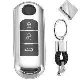 TPU One-piece Electroplating Full Coverage Car Key Case with Key Ring for Mazda 3 AXELA / CX-8 / CX-5 / CX-4 / 6 ATENZA (Silver)