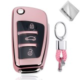 TPU One-piece Electroplating Opening Full Coverage Car Key Case with Key Ring for Audi A3 / Q3 (Pink)