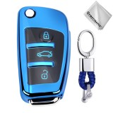 TPU One-piece Electroplating Opening Full Coverage Car Key Case with Key Ring for Audi A3 / Q3 (Blue)