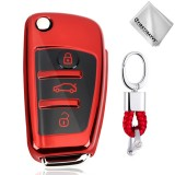 TPU One-piece Electroplating Opening Full Coverage Car Key Case with Key Ring for Audi A3 / Q3 (Red)