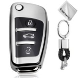 TPU One-piece Electroplating Opening Full Coverage Car Key Case with Key Ring for Audi A3 / Q3 (Silver)