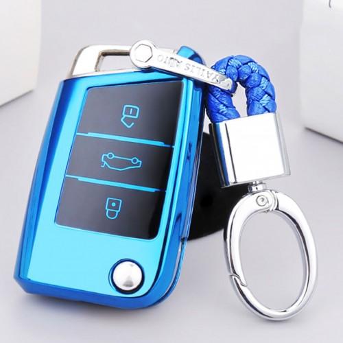 TPU One-piece Electroplating Opening Full Coverage Car Key Case with Key Ring for Volkswagen Golf / Tiguan L / Touran L / Lavida PLUS / Teramont / Lamando / T-ROC / SPORTSVAN / T-Cross (Blue)
