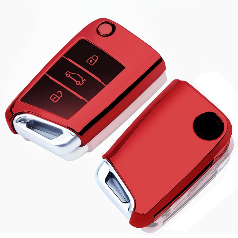 TPU One-piece Electroplating Opening Full Coverage Car Key Case with Key Ring for Volkswagen Golf / Tiguan L / Touran L / Lavida PLUS / Teramont / Lamando / T-ROC / SPORTSVAN / T-Cross (Red)