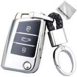 TPU One-piece Electroplating Opening Full Coverage Car Key Case with Key Ring for Volkswagen Golf / Tiguan L / Touran L / Lavida PLUS / Teramont / Lamando / T-ROC / SPORTSVAN / T-Cross (Silver)