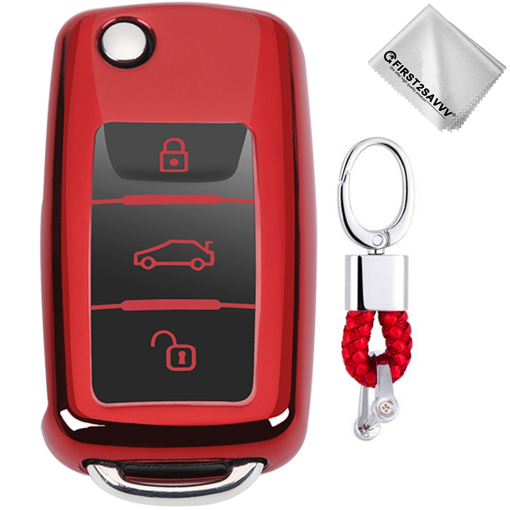 TPU One-piece Electroplating Opening Full Coverage Car Key Case with Key Ring for Volkswagen Lavida / SAGITAR / Jetta / C-TREK / BORA / Tiguan / Santana / POLO (Red)