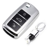 TPU One-piece Electroplating Opening Full Coverage Car Key Case with Key Ring for Volkswagen Lavida / SAGITAR / Jetta / C-TREK / BORA / Tiguan / Santana / POLO (Silver)