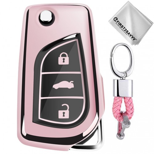 TPU One-piece Electroplating Opening Full Coverage Car Key Case with Key Ring for TOYOTA YARIS L / COROLLA / YARIS L / CAMRY / VIOS / HIGHLANDER (Pink)
