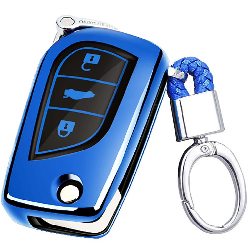 TPU One-piece Electroplating Opening Full Coverage Car Key Case with Key Ring for TOYOTA YARIS L / COROLLA / YARIS L / CAMRY / VIOS / HIGHLANDER (Blue)