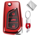 TPU One-piece Electroplating Opening Full Coverage Car Key Case with Key Ring for TOYOTA YARIS L / COROLLA / YARIS L / CAMRY / VIOS / HIGHLANDER (Red)