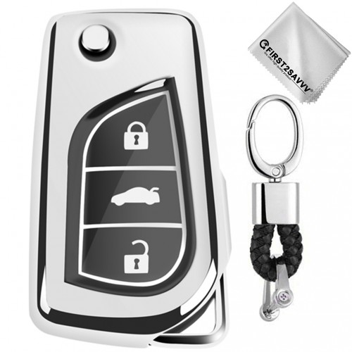 TPU One-piece Electroplating Opening Full Coverage Car Key Case with Key Ring for TOYOTA YARIS L / COROLLA / YARIS L / CAMRY / VIOS / HIGHLANDER (Silver)