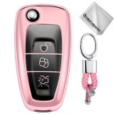 TPU One-piece Electroplating Opening Full Coverage Car Key Case with Key Ring for Ford FOCUS / KUGA (Pink)