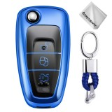 TPU One-piece Electroplating Opening Full Coverage Car Key Case with Key Ring for Ford FOCUS / KUGA (Blue)