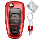 TPU One-piece Electroplating Opening Full Coverage Car Key Case with Key Ring for Ford FOCUS / KUGA (Red)