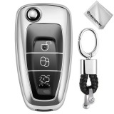 TPU One-piece Electroplating Opening Full Coverage Car Key Case with Key Ring for Ford FOCUS / KUGA (Silver)