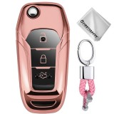 TPU One-piece Electroplating Opening Full Coverage Car Key Case with Key Ring for Ford Edge / ESCORT / KUGA / Mondeo / EcoSport / FOCUS (Pink)