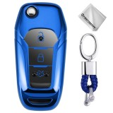TPU One-piece Electroplating Opening Full Coverage Car Key Case with Key Ring for Ford Edge / ESCORT / KUGA / Mondeo / EcoSport / FOCUS (Blue)
