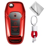 TPU One-piece Electroplating Opening Full Coverage Car Key Case with Key Ring for Ford Edge / ESCORT / KUGA / Mondeo / EcoSport / FOCUS (Red)