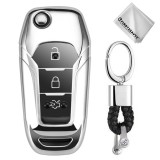 TPU One-piece Electroplating Opening Full Coverage Car Key Case with Key Ring for Ford Edge / ESCORT / KUGA / Mondeo / EcoSport / FOCUS (Silver)