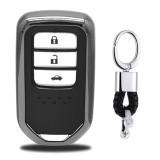 Electroplating TPU Single-shell Car Key Case with Key Ring for HONDA CIVIC / ACCORD / VEZEL / AVANCIER / CITY / FIT / JADE / CRIDER / GREIZ / ELYSION / ODYSSEY / XR-V / Spirior / CR-V (Black)