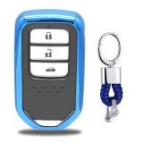 Electroplating TPU Single-shell Car Key Case with Key Ring for HONDA CIVIC / ACCORD / VEZEL / AVANCIER / CITY / FIT / JADE / CRIDER / GREIZ / ELYSION / ODYSSEY / XR-V / Spirior / CR-V (Blue)