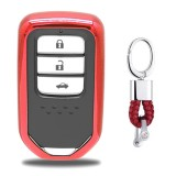 Electroplating TPU Single-shell Car Key Case with Key Ring for HONDA CIVIC / ACCORD / VEZEL / AVANCIER / CITY / FIT / JADE / CRIDER / GREIZ / ELYSION / ODYSSEY / XR-V / Spirior / CR-V (Red)
