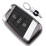 Electroplating TPU Single-shell Car Key Case with Key Ring for Volkswagen New Magotan / New Passat (Black)