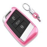 Electroplating TPU Single-shell Car Key Case with Key Ring for Volkswagen New Magotan / New Passat (Pink)