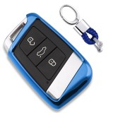Electroplating TPU Single-shell Car Key Case with Key Ring for Volkswagen New Magotan / New Passat (Blue)