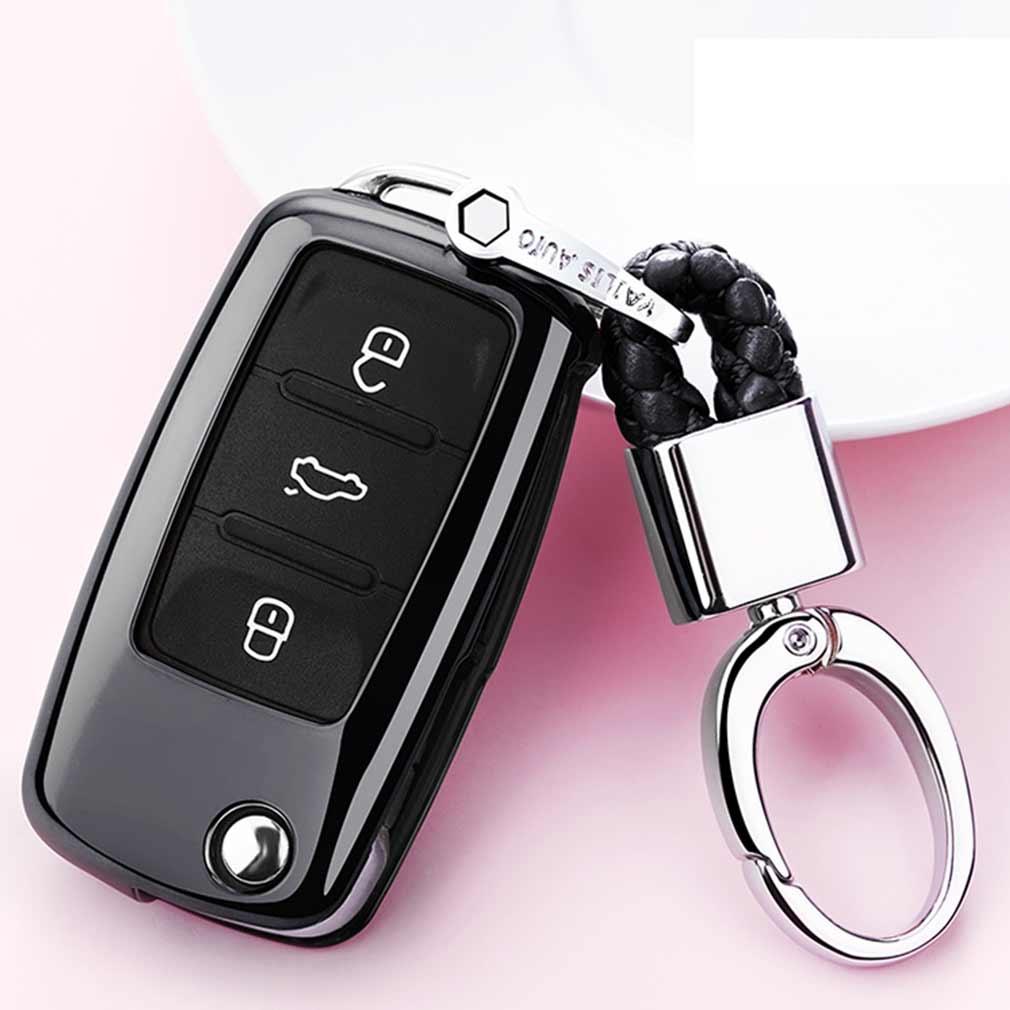 Electroplating TPU Single-shell Car Key Case with Key Ring for Volkswagen Lavida / SAGITAR / Jetta / C-TREK / BORA / Tiguan / Santana / POLO (Black)