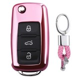Electroplating TPU Single-shell Car Key Case with Key Ring for Volkswagen Lavida / SAGITAR / Jetta / C-TREK / BORA / Tiguan / Santana / POLO (Pink)