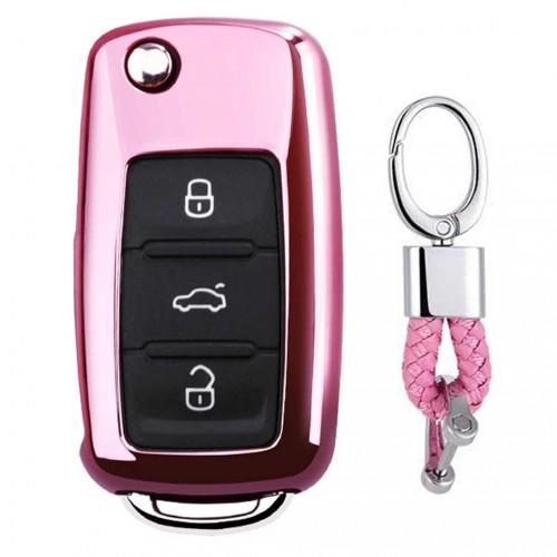 Electroplating TPU Single-shell Car Key Case with Key Ring for Volkswagen Lavida / SAGITAR / Jetta / C-TREK / BORA / Tiguan / Santana / POLO (Pink)