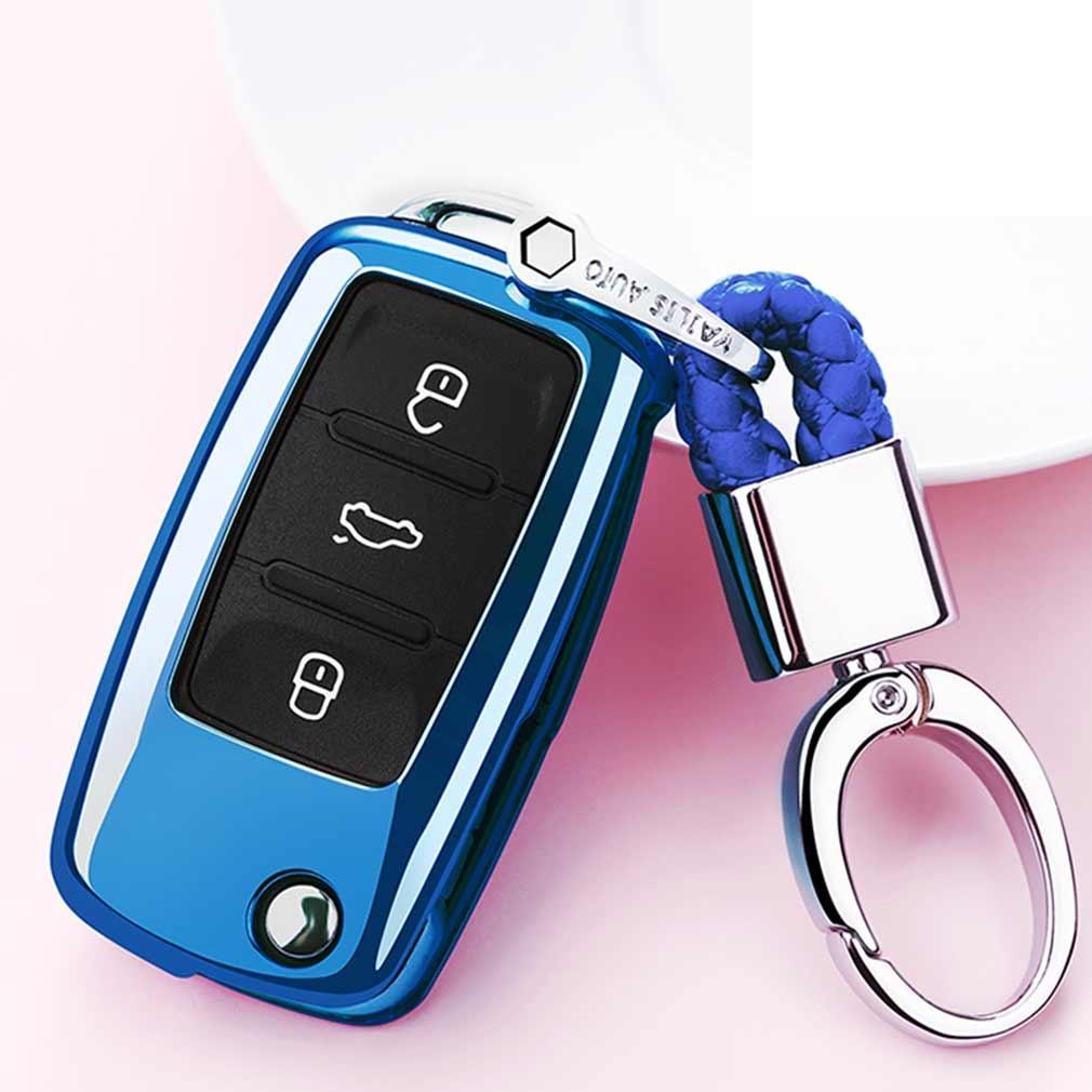 Electroplating TPU Single-shell Car Key Case with Key Ring for Volkswagen Lavida / SAGITAR / Jetta / C-TREK / BORA / Tiguan / Santana / POLO (Blue)