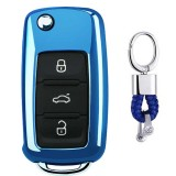 Electroplating TPU Single-shell Car Key Case with Key Ring for Volkswagen Lavida / SAGITAR / Jetta / C-TREK / BORA / Tiguan / Santana / POLO (Blue)