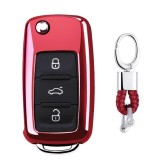 Electroplating TPU Single-shell Car Key Case with Key Ring for Volkswagen Lavida / SAGITAR / Jetta / C-TREK / BORA / Tiguan / Santana / POLO (Red)