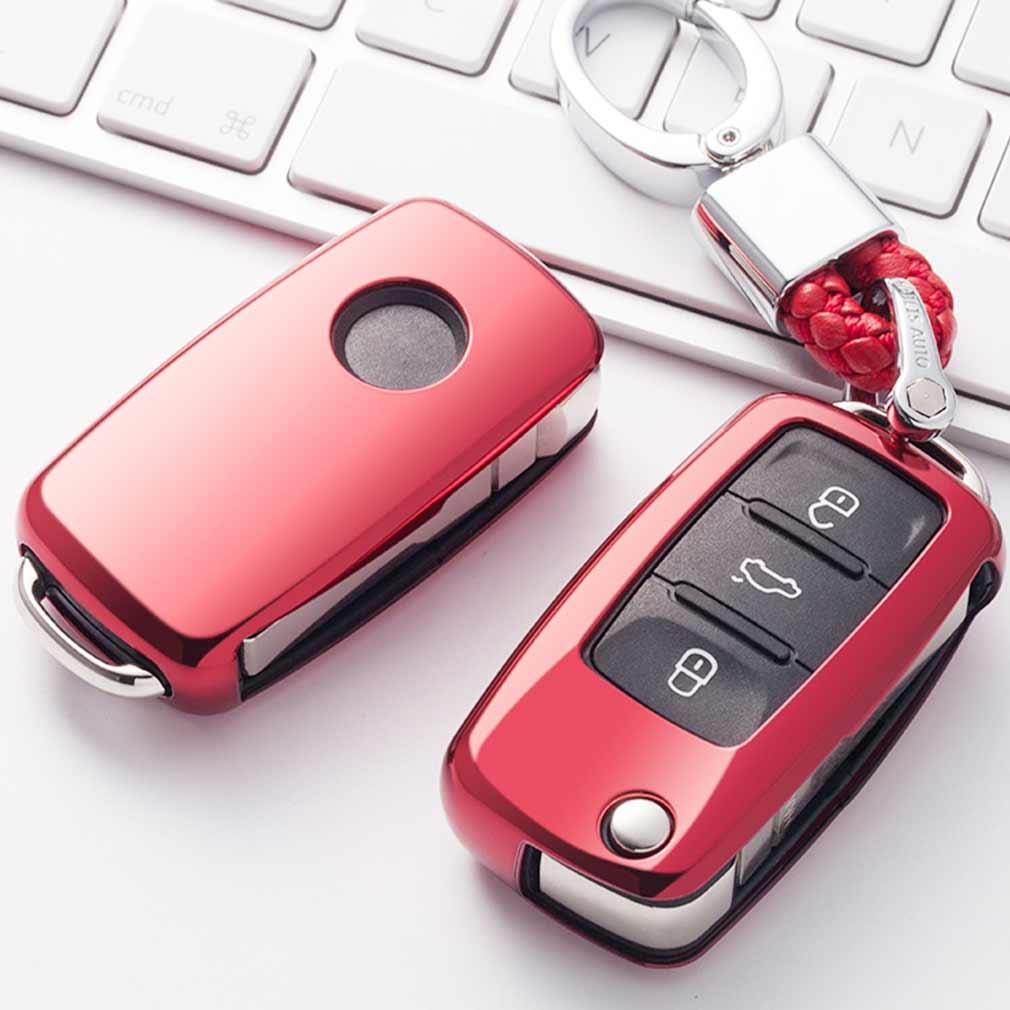 Electroplating TPU Single-shell Car Key Case with Key Ring for Volkswagen Lavida / SAGITAR / Jetta / C-TREK / BORA / Tiguan / Santana / POLO (Red)
