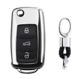 Electroplating TPU Single-shell Car Key Case with Key Ring for Volkswagen Lavida / SAGITAR / Jetta / C-TREK / BORA / Tiguan / Santana / POLO (Silver)