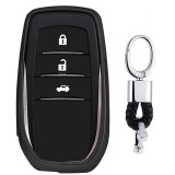 Electroplating TPU Single-shell Car Key Case with Key Ring for TOYOTA HIGHLANDER / CROWN / PRADO / VIOS / CAMRY / COROLLA (Black)