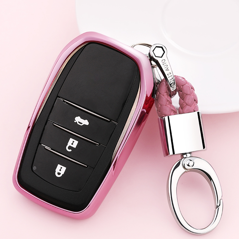 Electroplating TPU Single-shell Car Key Case with Key Ring for TOYOTA HIGHLANDER / CROWN / PRADO / VIOS / CAMRY / COROLLA (Pink)