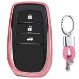 Electroplating TPU Single-shell Car Key Case with Key Ring for TOYOTA HIGHLANDER / CROWN / PRADO / VIOS / CAMRY / COROLLA (Pink)