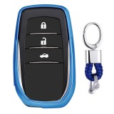 Electroplating TPU Single-shell Car Key Case with Key Ring for TOYOTA HIGHLANDER / CROWN / PRADO / VIOS / CAMRY / COROLLA (Blue)