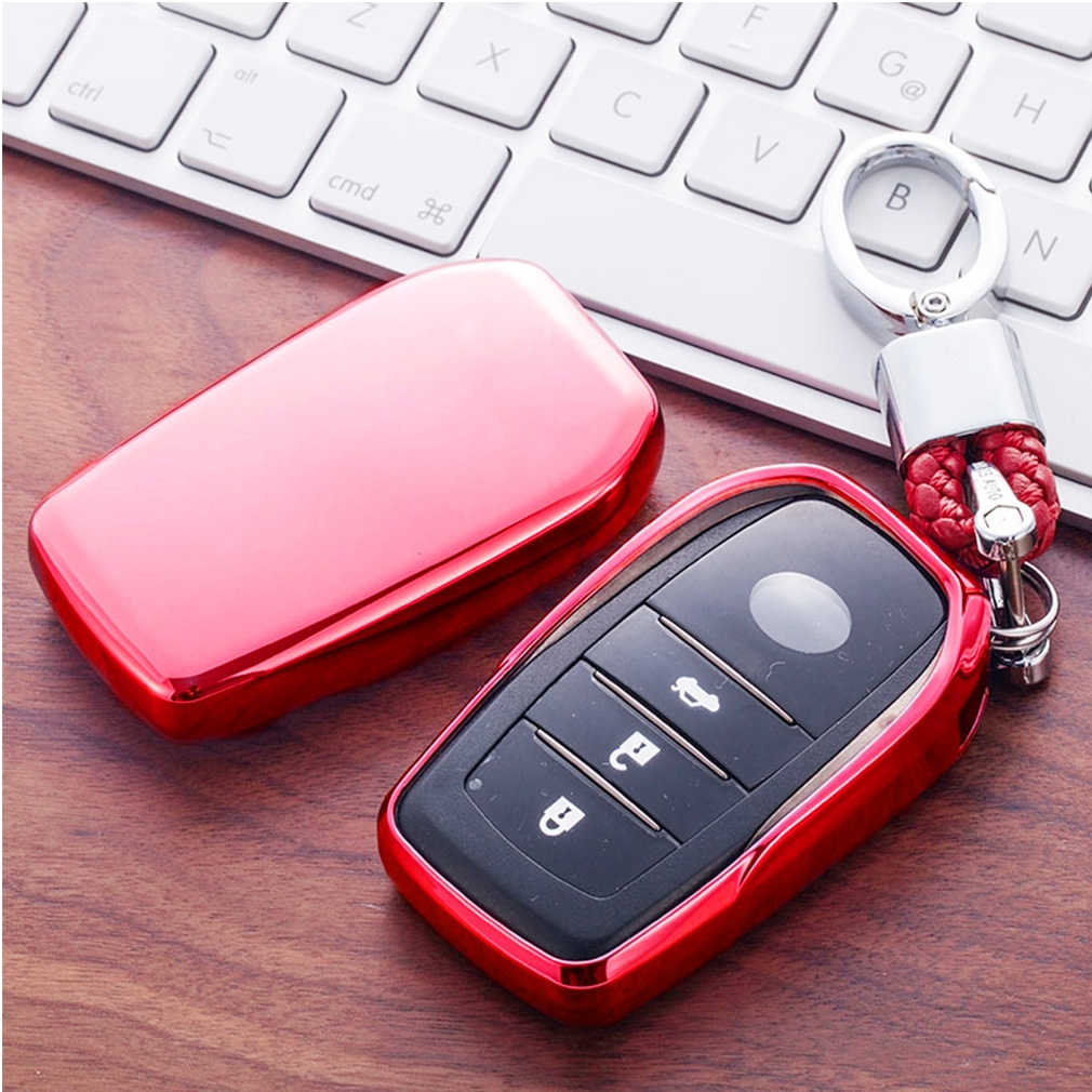 Electroplating TPU Single-shell Car Key Case with Key Ring for TOYOTA HIGHLANDER / CROWN / PRADO / VIOS / CAMRY / COROLLA (Red)
